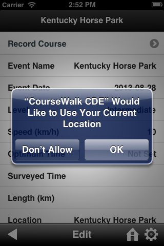 Allow CourseWalk CDE to access your GPS