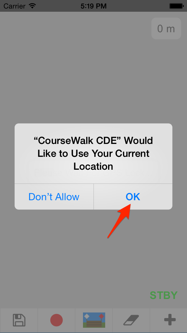 Allow CourseWalk to access your GPS